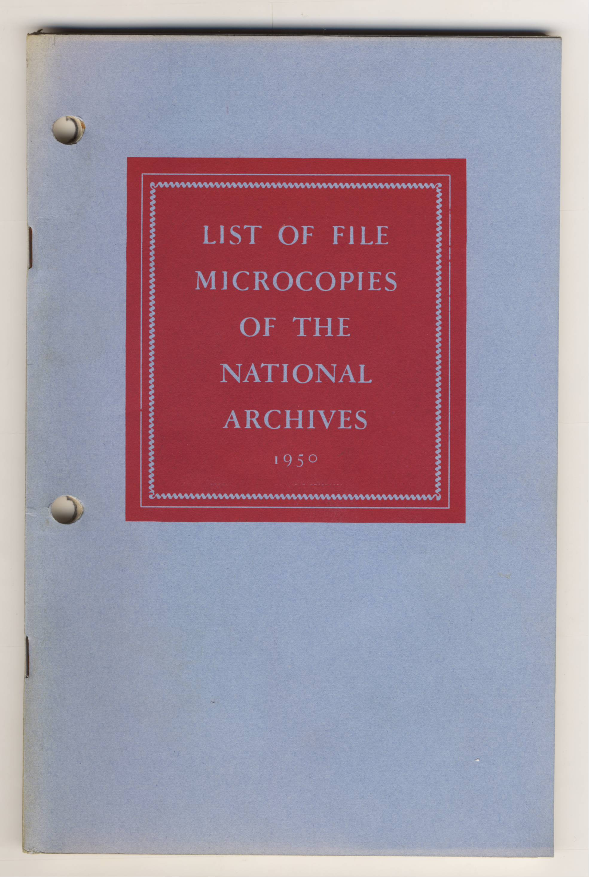 RG 64, P 74 - List of File Microcopies, 1950 - Cover.jpg