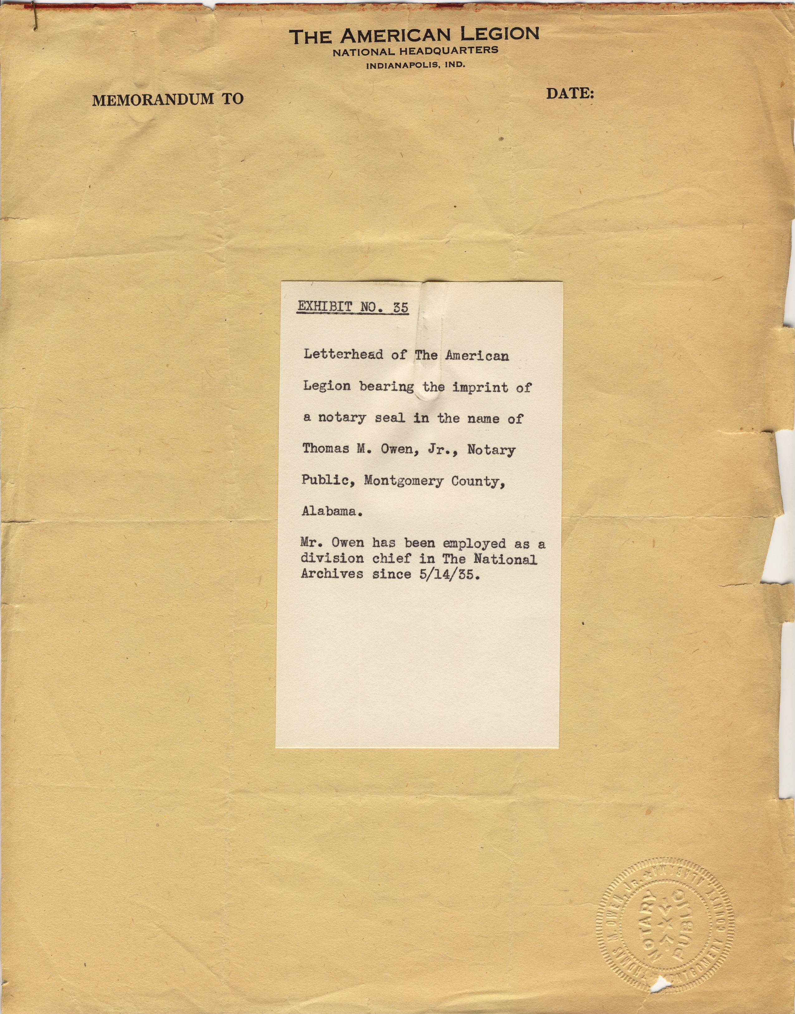 American Legion Letterhead with Notary Seal, 1938 - RG 64, A1 2A, file Frank T. VanHook, folder no. 3, box 3.jpg