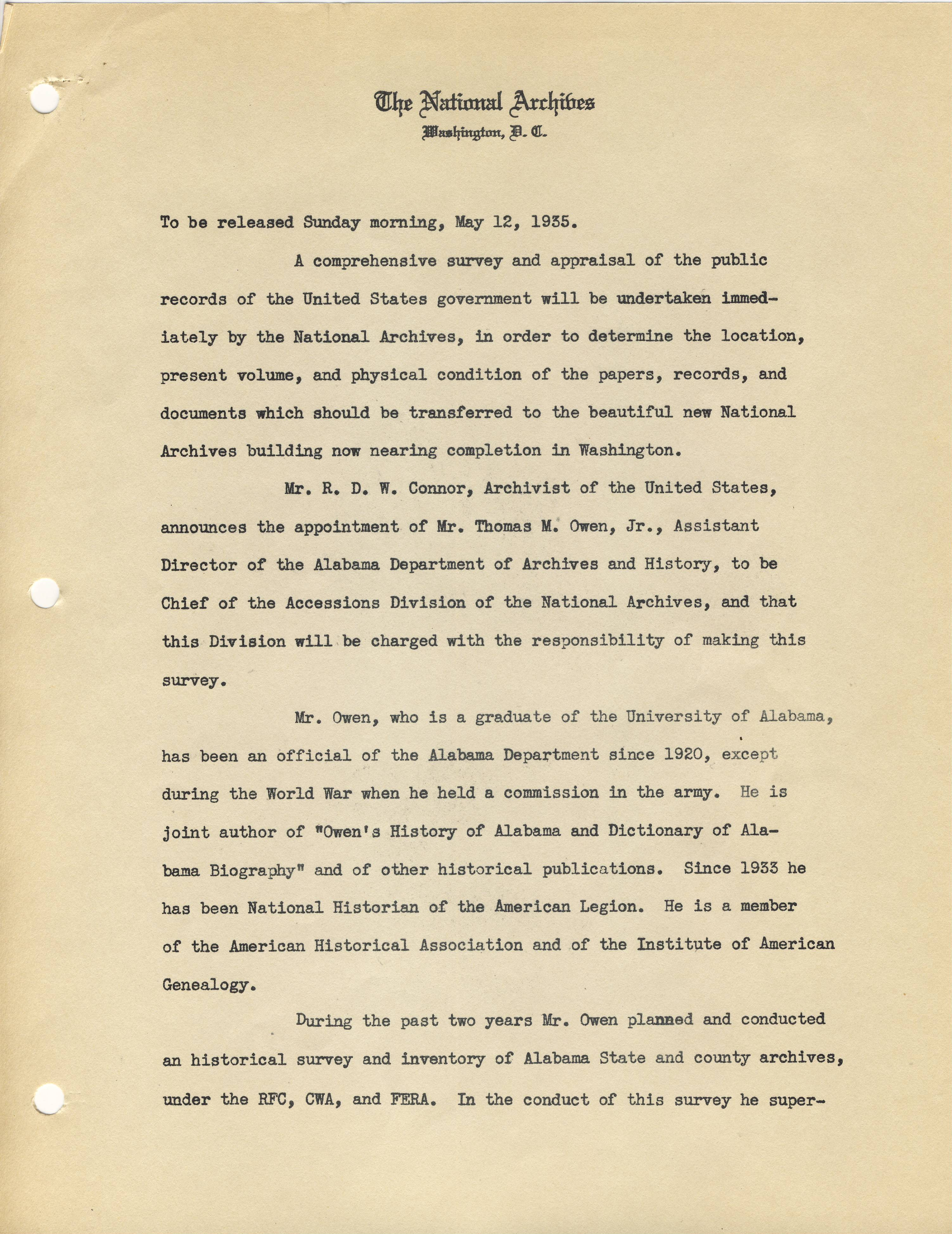 Announcement of DC Records Survey, 1935, page 1 - RG 64, A1 34, file Memoranda and Press Releases of the Archivist 1935-1936.jpg