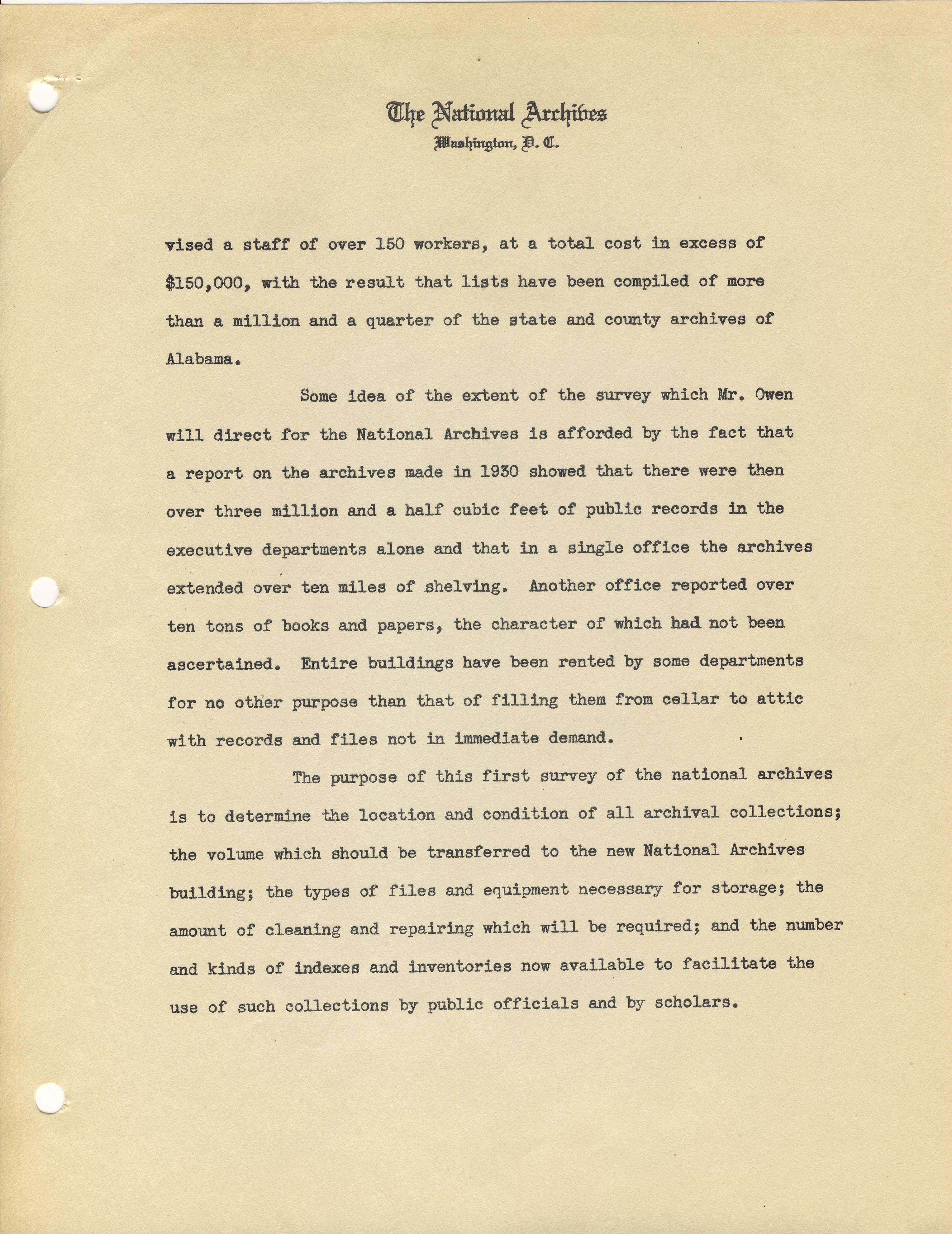 Announcement of DC Records Survey, 1935, page 2 - RG 64, A1 34, file Memoranda and Press Releases of the Archivist 1935-1936.jpg