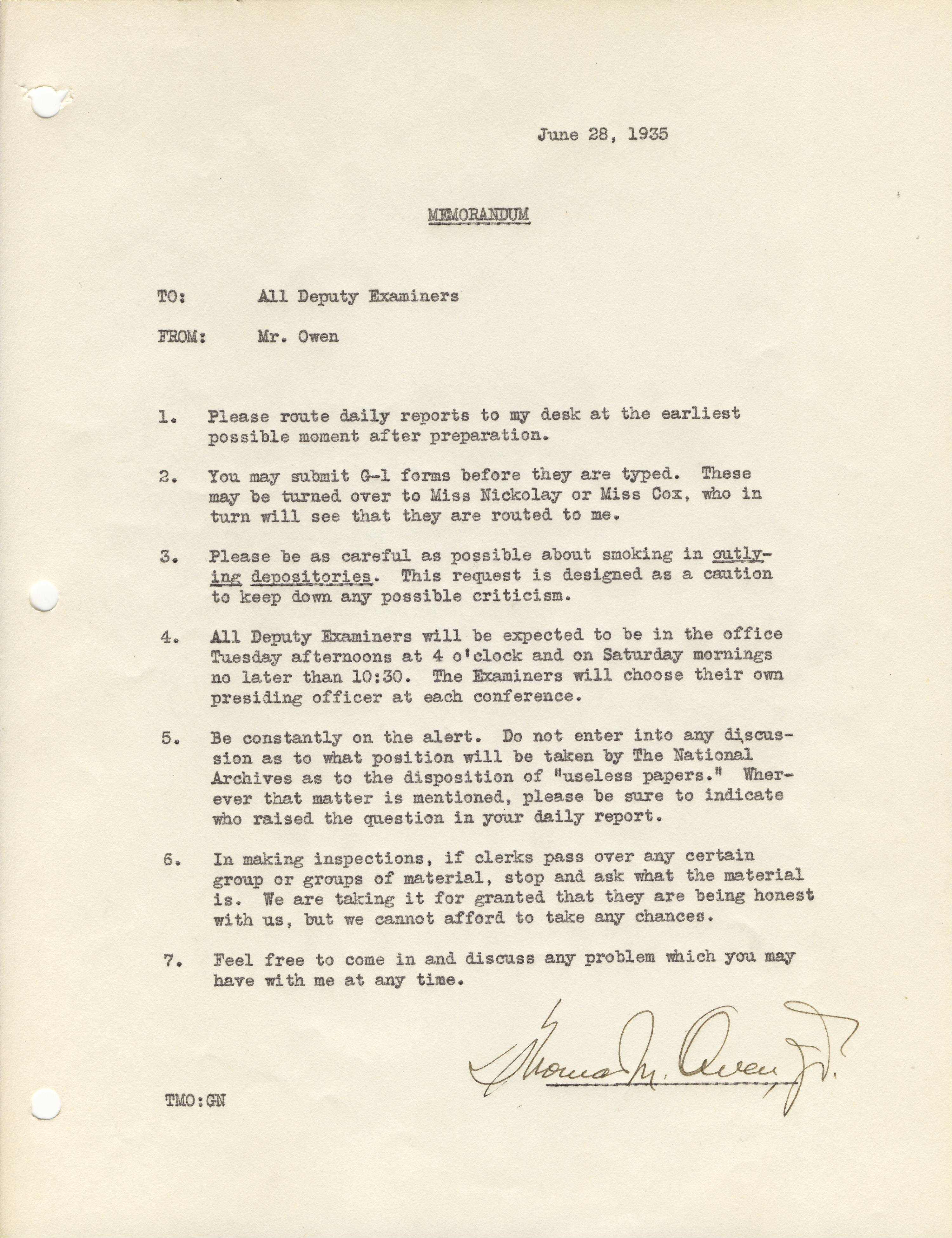 Instructions to Examiners for DC Records Surveys, June 28, 1935 - RG 64, A1 34, file Div. of Accessions Memoranda 1935-1936 Arthur Leavitt, box 1.jpg