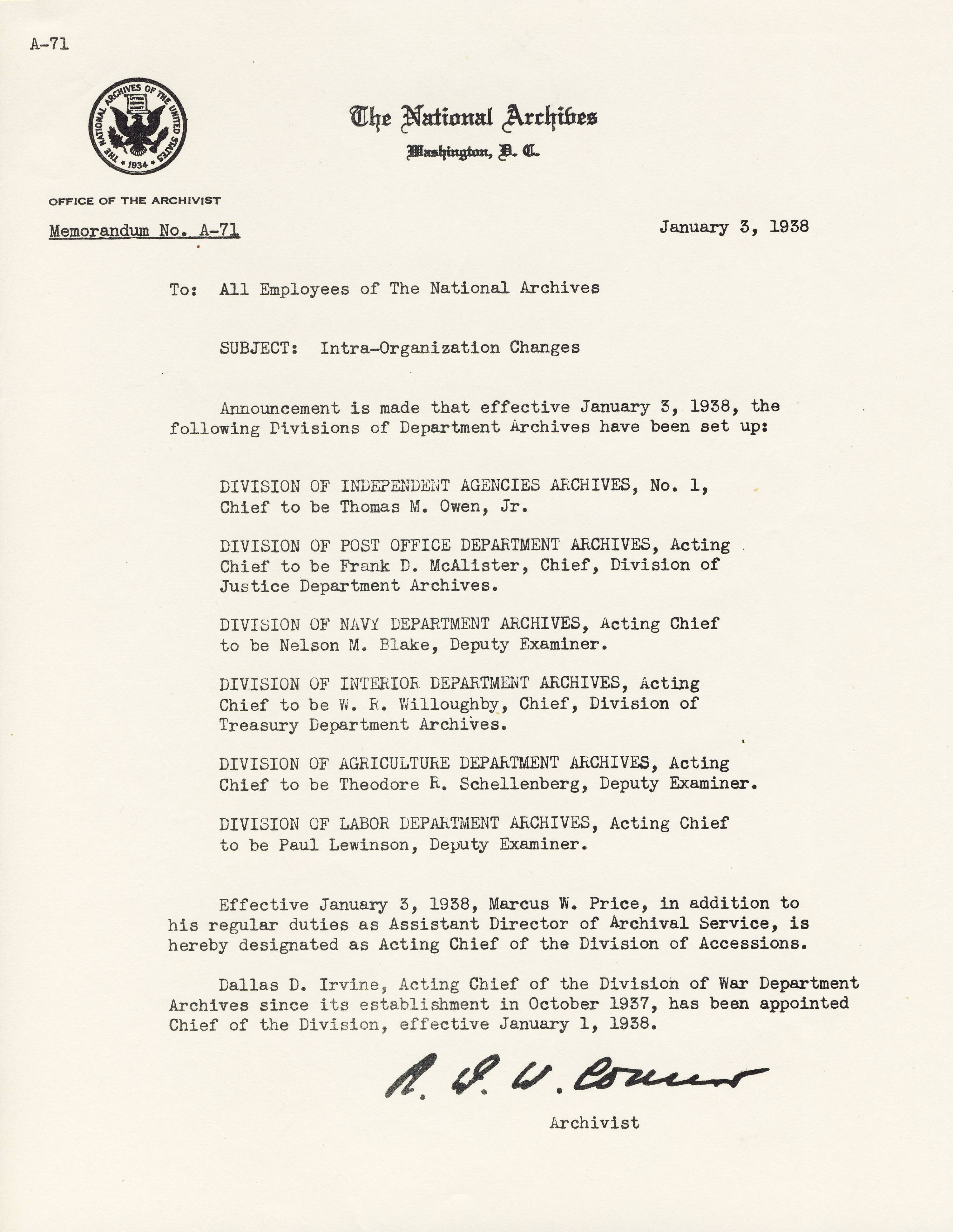 RG 64, A1 9 - Memo A-71 Intra-Organization Changes, Jan. 3, 1938.jpg