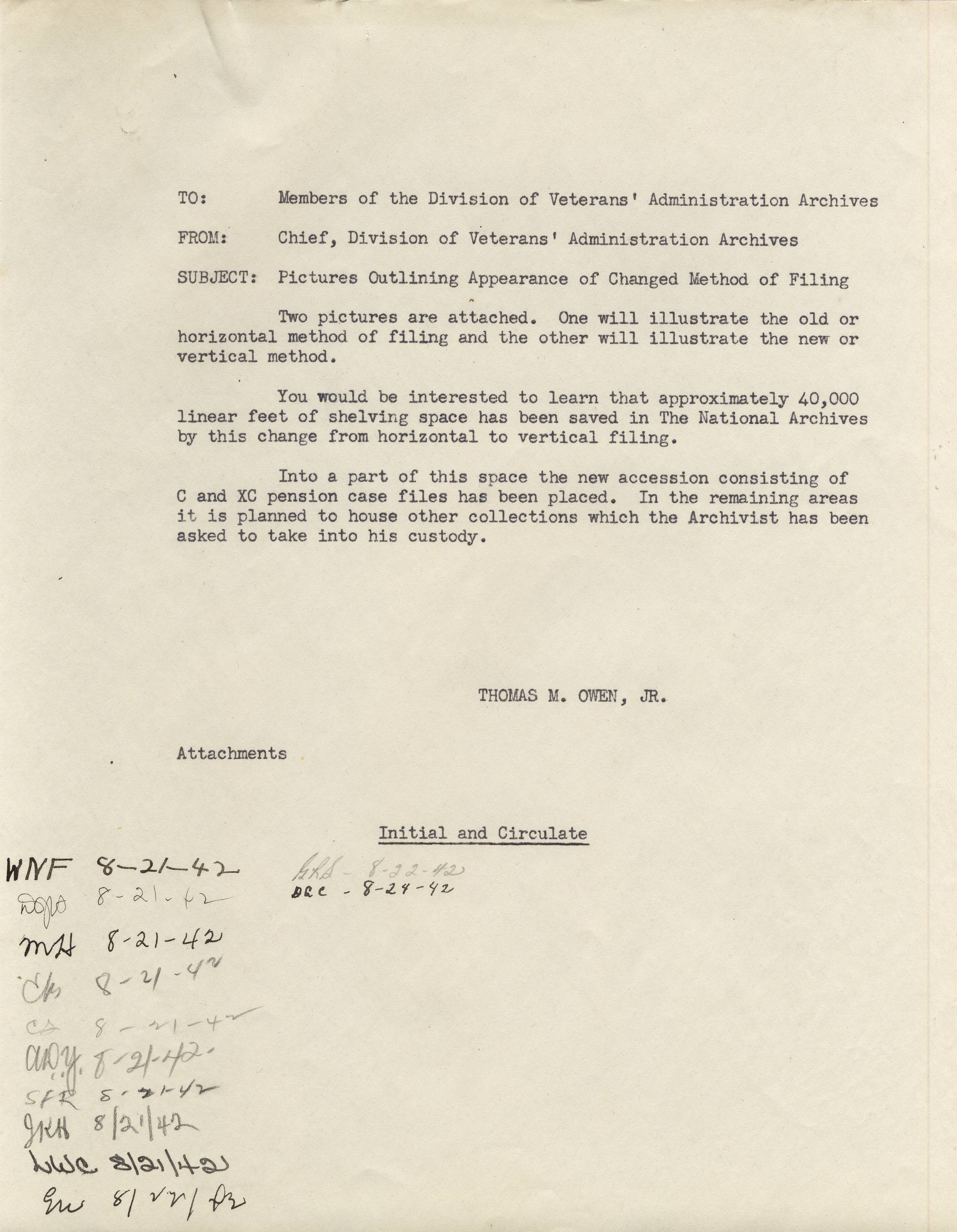 RG 64, P 112, file Records - Preservation - Flat Filing - Memo to Staff re Change to Vertical Filing.jpg