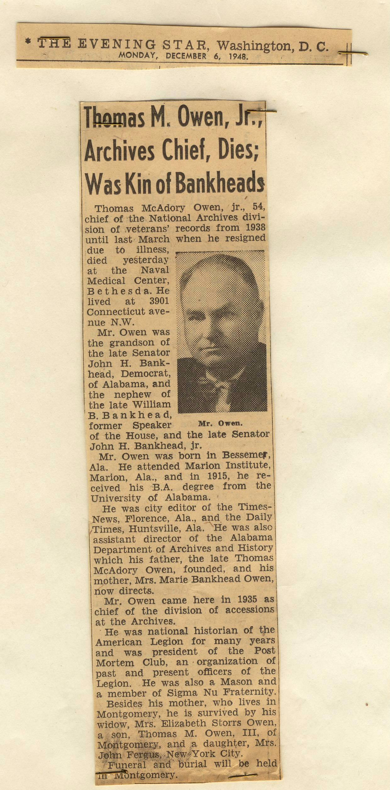 RG 64, P 67, file 1948 - Star Obit for Thomas Owen, Dec..jpg
