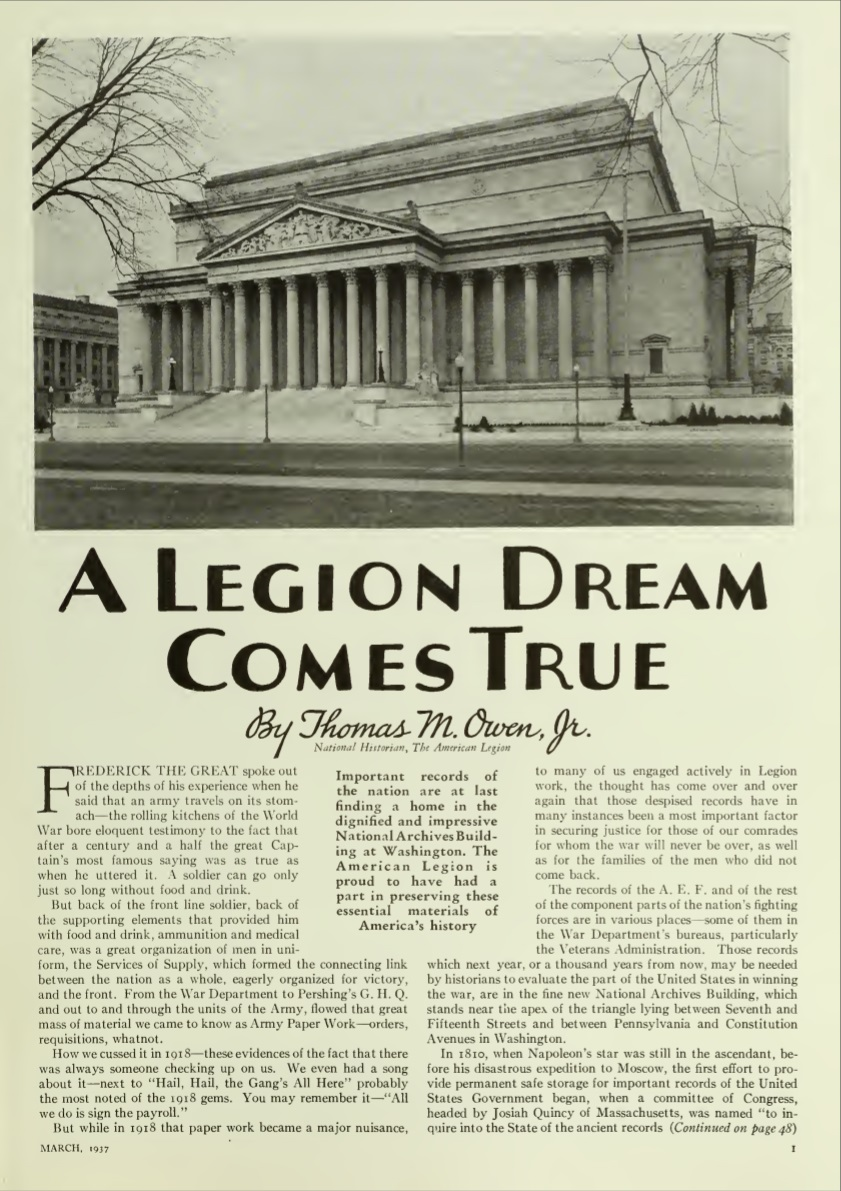Owen Article - A Legion Dream Comes True, Am. Legion Magazine, March 1937 - page 1.jpg