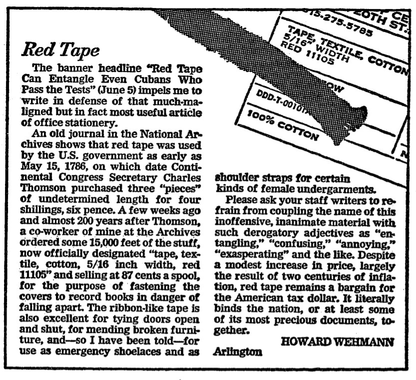 Howard Wehmann's Red Tape History Lesson - Wash. Post, June 11, 1980.jpg