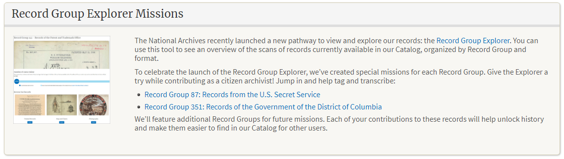 Record Group Explorer Missions for Citizen Archivists