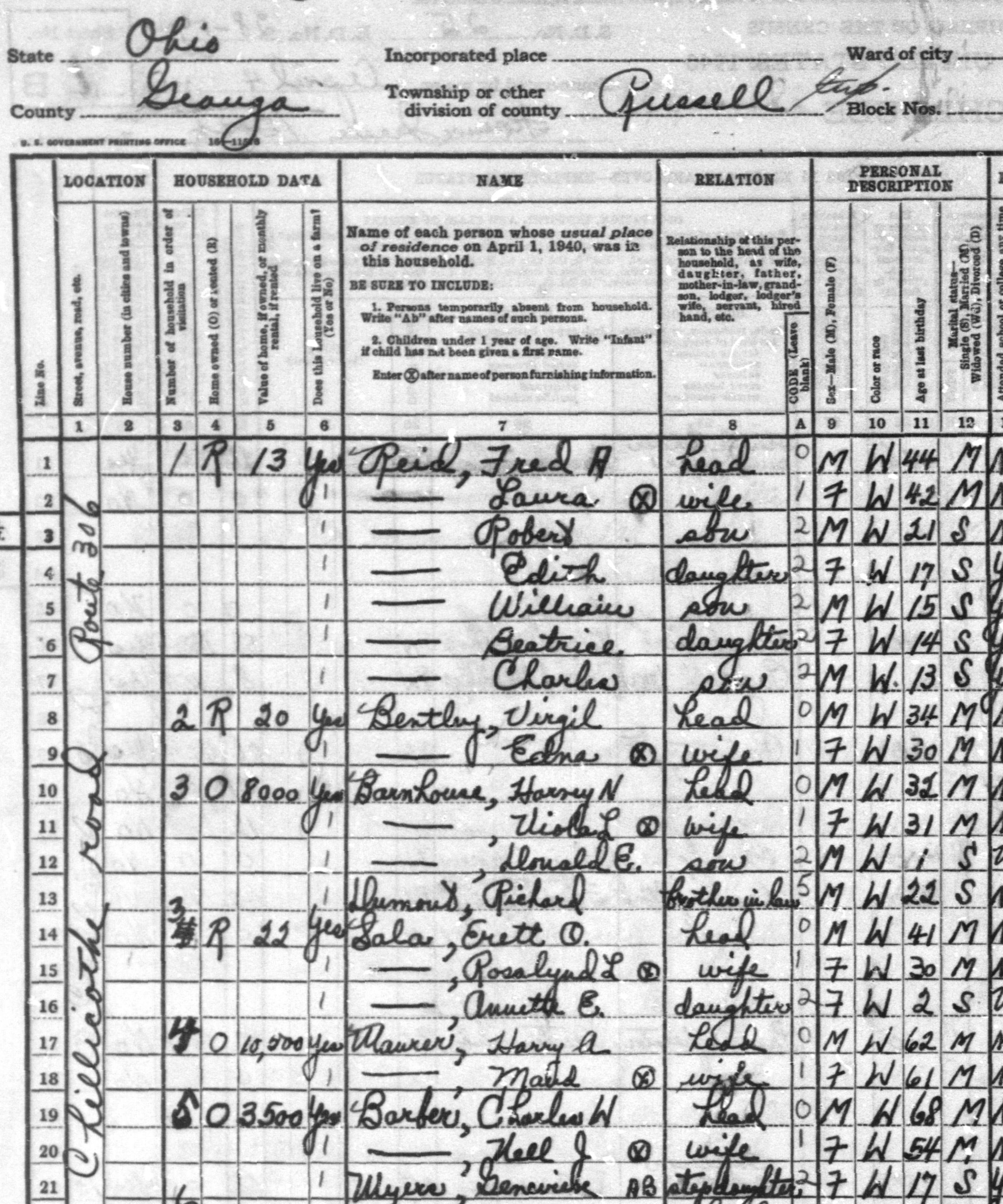 Detail from T627, 1940 Census, Enumeration District 28-19, Sheet 1A, Russell Township, Geauga County, Ohio