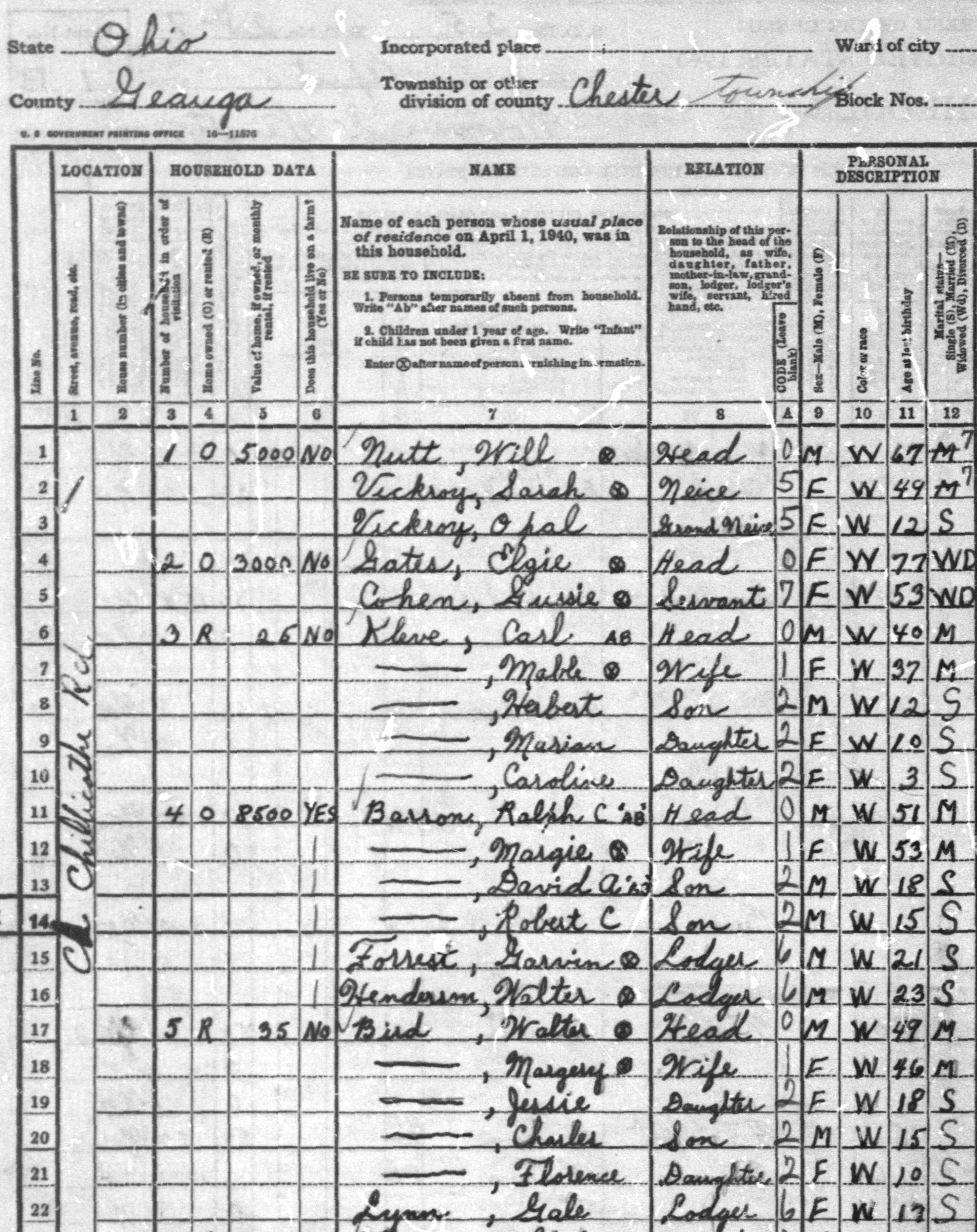 Detail from T627, 1940 Census, Enumeration District 28-7, Sheet 1A, Chester Township, Geauga County, Ohio