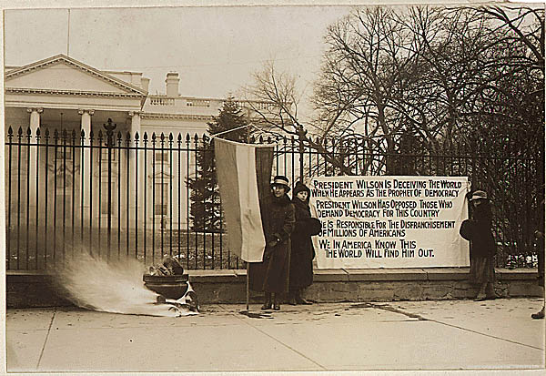 Woman suffrage in Washington, District of Columbia. Suffragettes bonfire and posters at the . . ., 1917 - 1918