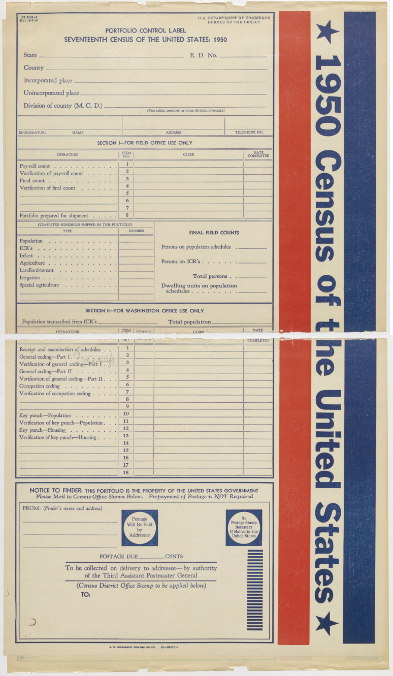 1950 Census, Form 17Fld-1, Portfolio Control Label