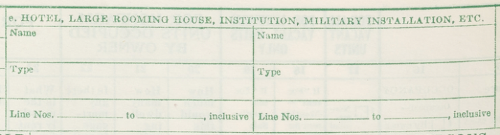 """Item e"" - Form P1, Population and Housing Schedule, 1950 Census, USA"