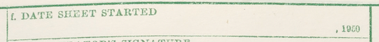 """Item f"" - Form P1, Population and Housing Schedule, 1950 Census, USA"