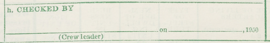 """Item h"" - Form P1, Population and Housing Schedule, 1950 Census, USA"